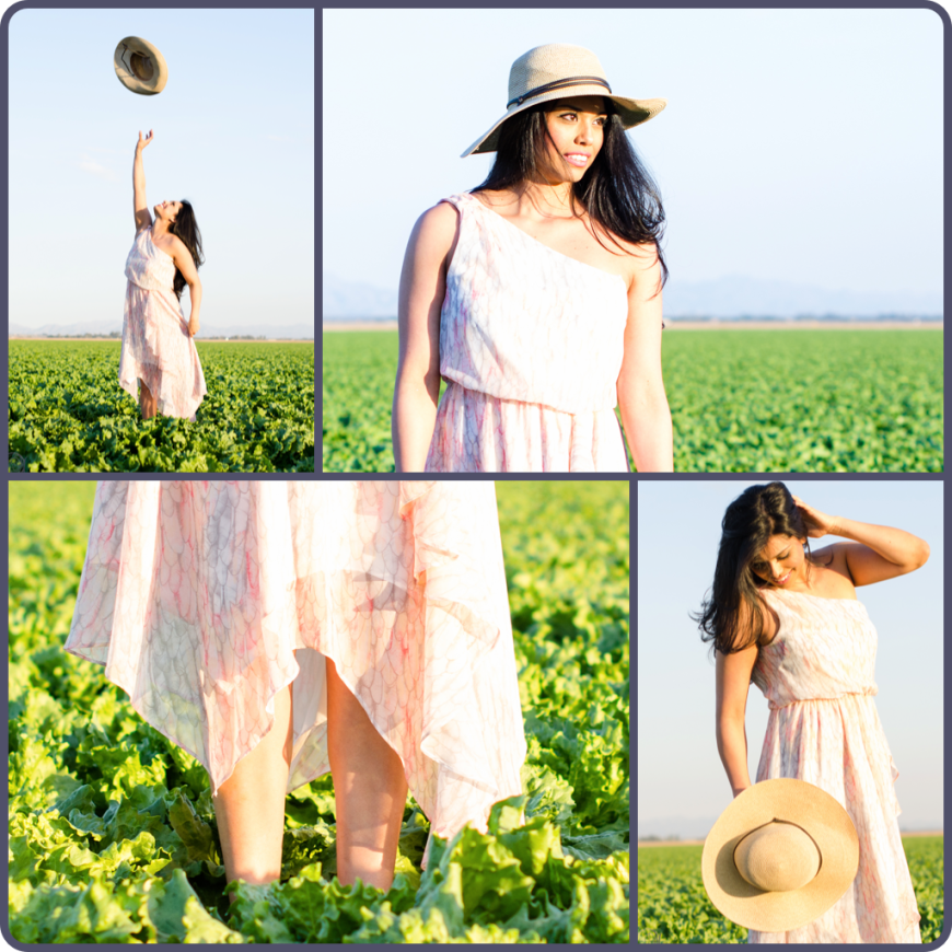 Hat and dress in lettuce field