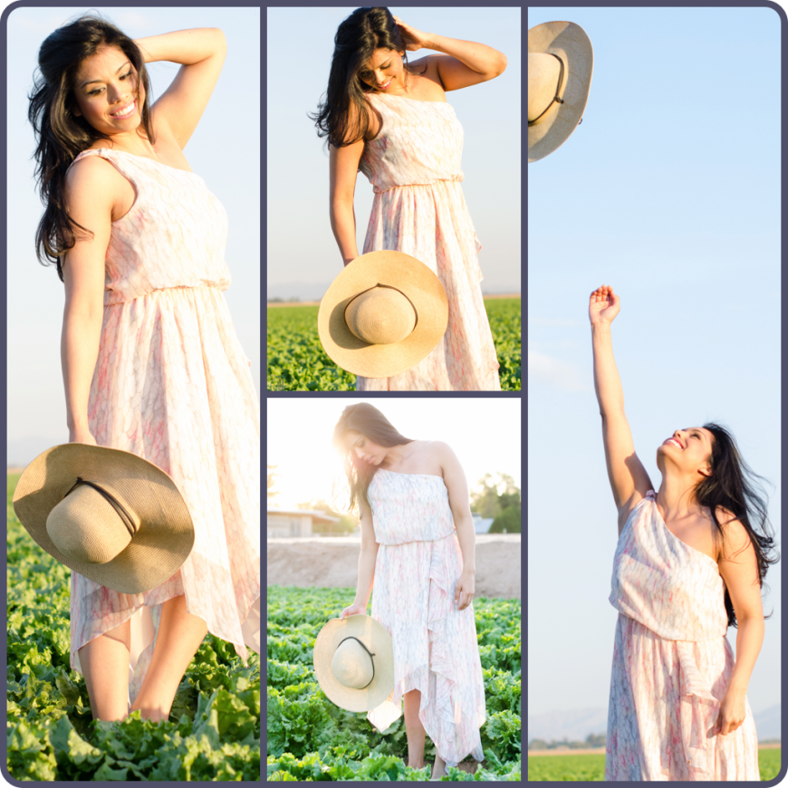 Photo shoot in lettuce field