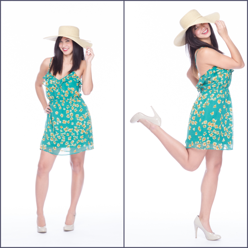 Model in sundress and hat