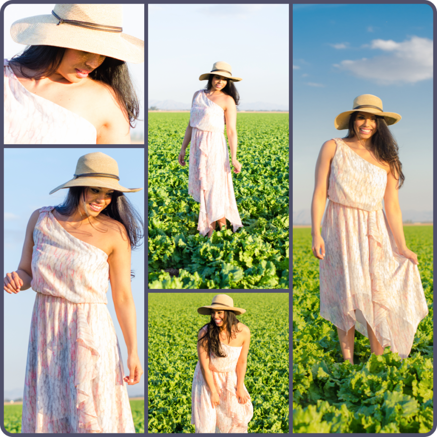 Sun dress and hat in field